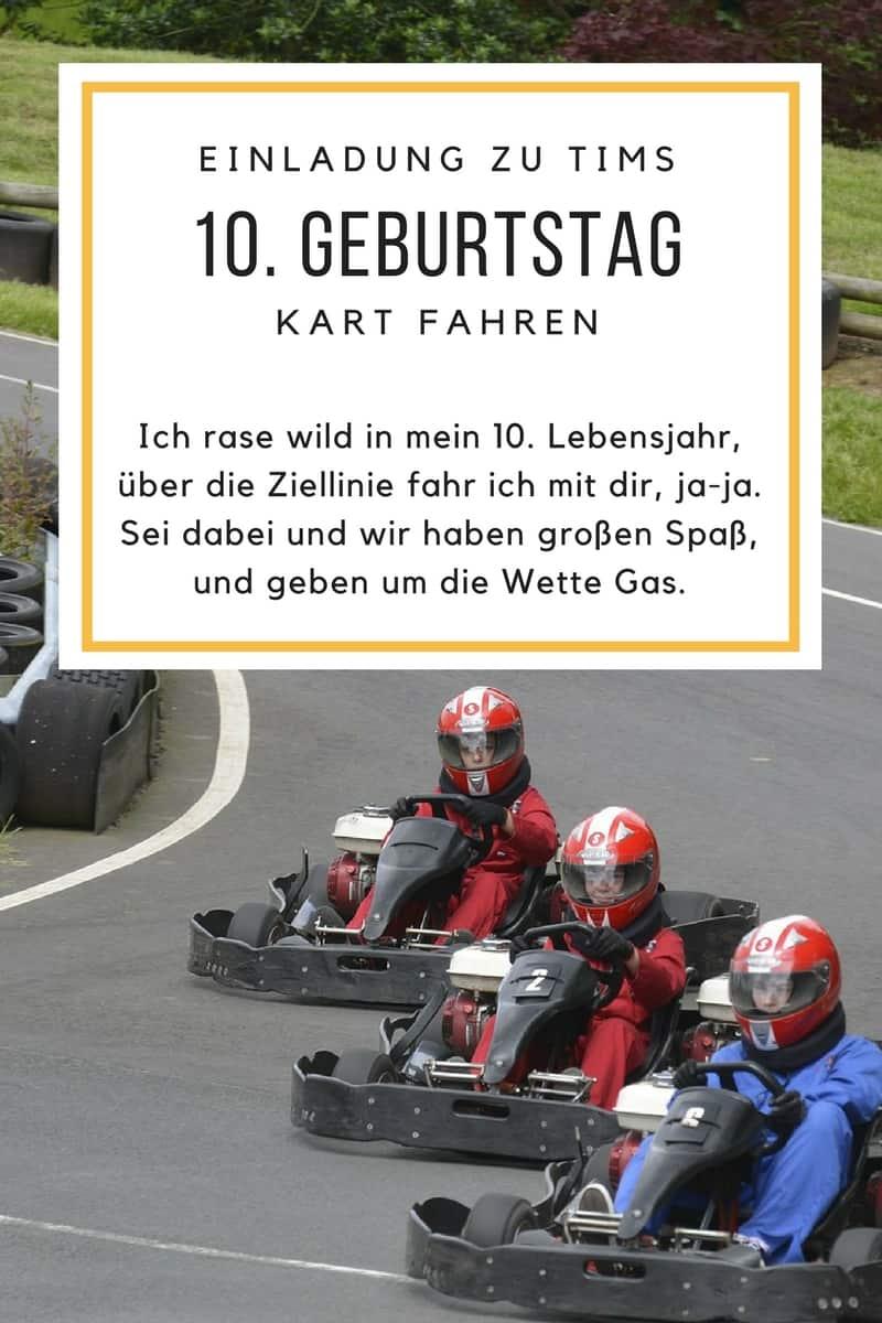 Einladung Zum Kart Fahren, Sprüche Für 10. Geburtstag