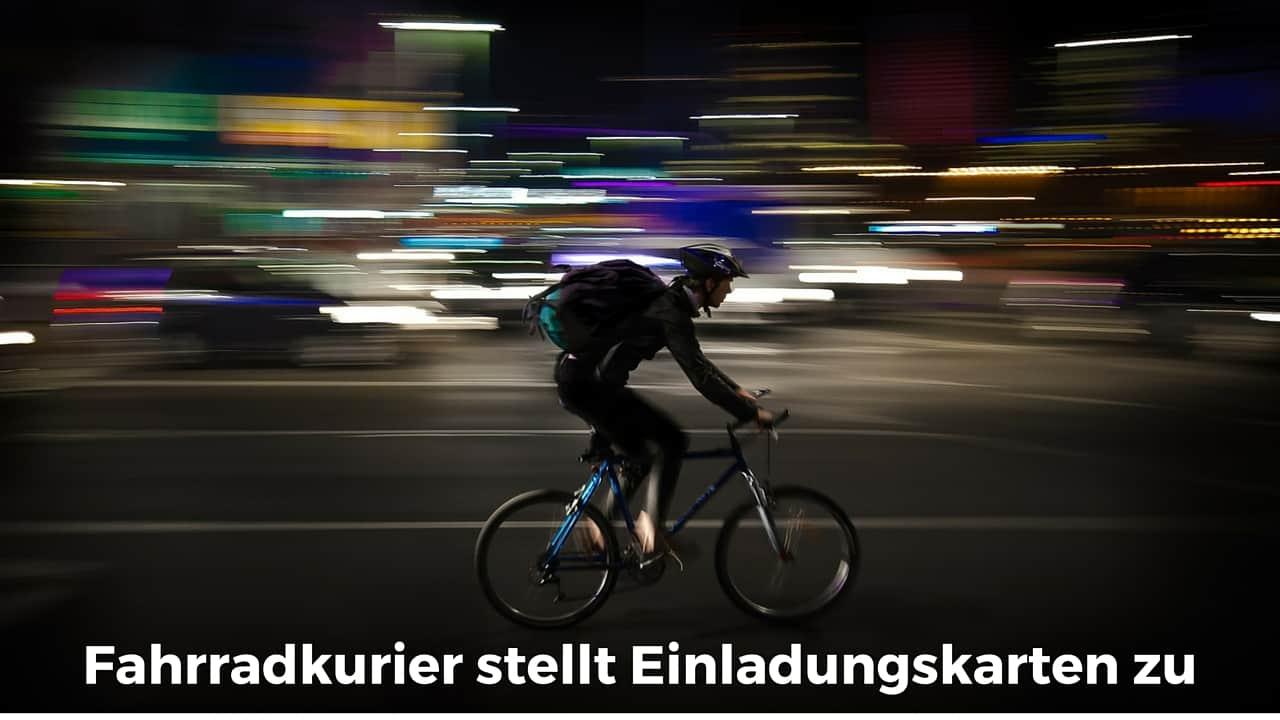 Schön Mit Exklusive Ideen Anders Einladen. Fahrradkurier Stellt Einladungskarten  Zu