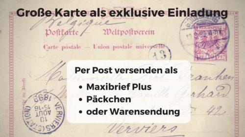Große Karte als exklusive Einladung per Post versenden