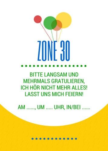 Zone 30, Geburtstagseinladung, passender Spruch als Karte
